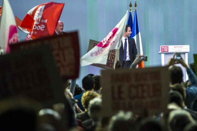 Benoît Hamon, àun meeting de campagne à Brest, mercredi 1er mars.