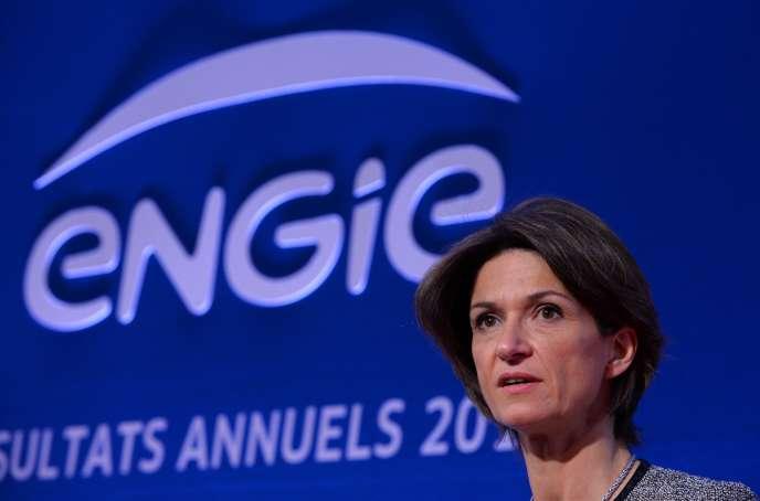 Isabelle Kocher, directrice générale d'Engie, le 2 mars, lors de la présentation des résultats annuels du groupe.