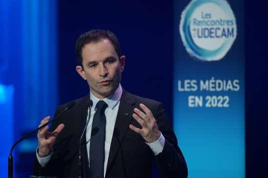 Benoît Hamon, aux Rencontres de l'Udecam, jeudi 2 mars, à Paris.