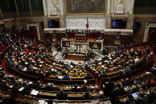 Une session de questions au gouvernement, le 22 février 2017 à l'Assemblée nationale.