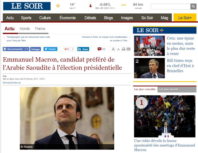 Capture d'écran du site lesoir.info