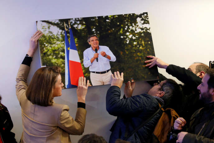Au QG de François Fillon à Paris, le 1er mars 2017.