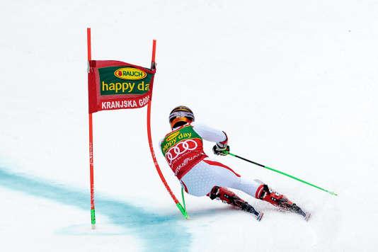Marcel Hirscher lors de l'épreuve en Slovénie.