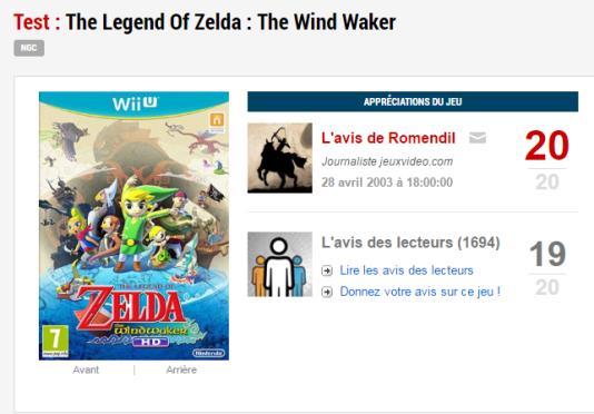 En 2003, «Wind Waker» fut le premier à obtenir la note de 20/20 dans l'histoire de jeuxvideo.com. Le site s'interdisait pourtant à l'époque d'utiliser la note minimale et la note maximale.