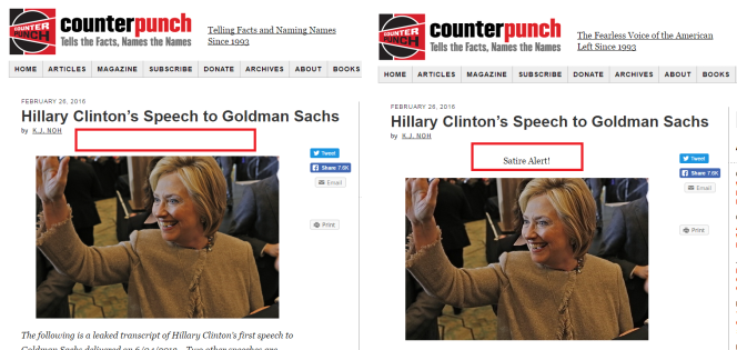A gauche, l'article initial publié sur Counterpunch tel qu'il était visible le 27 février 2016. A droite, la version visible le 2 août 2016.