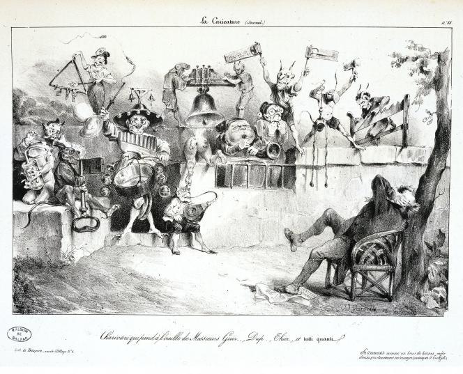 Dessin de Grandville daté de 1831. Un député confronté à un concert de casseroles