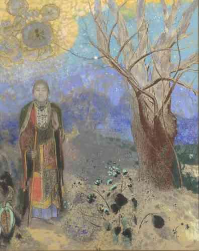 Ici, l'artiste se situe entre la peinture symboliste et l'onirisme : la référence à la philosophie orientale révèle une sensibilité à la fois humaine et sacrée en la présence d'un Bouddha, qui esquisse le « geste d'absence de crainte ».