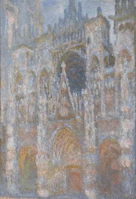 Dans une harmonie de couleurs vaporeuses, la cathédrale de Rouen semble apparaître dans une lumière orange et bleutée, aux teintes irréelles et aux lignes floutées, résolument modernes.