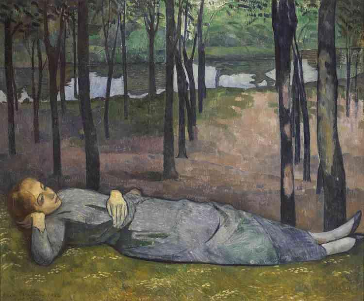 Le peintre représente sa sœur Madeleine dans le Bois d'Amour près du village de Pont-Aven : réveuse, et en position de repos, le modèle semble sombrer dans une sorte d'errance contemplative.
