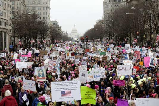 Une manifestation pour la défense des droits des femmes, baptisée «Marche des femmes», à WashingtonDC, Etats-Unis, le 21janvier.