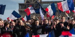 5 mars 2017, place du Trocadéro,grand rassemblement populaire en soutien à François Fillon, le candidat Les Républicains à la présidentielle.