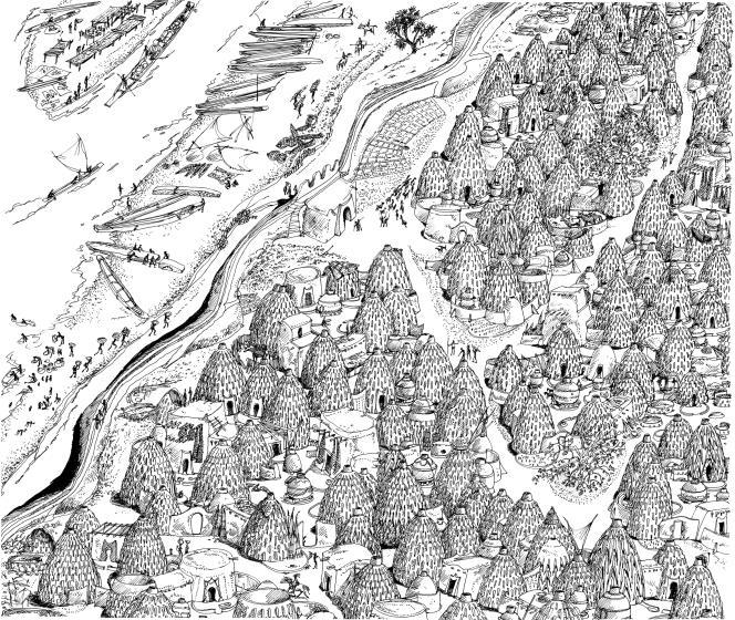 Reconstitution d'une cité de cases-obus à Malla, sur la rive orientale du Logone.