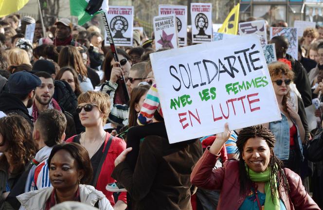 Manifestation pour les droits des femmes, à Paris, le 8mars 2014.