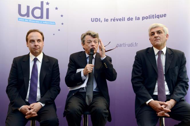 Jean-Christophe Lagarde, Jean-Louis Borloo, et Hervé Morin lors d'une conférence de presse en 2013.