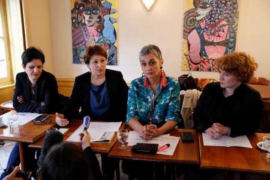 Sandrine Rousseau, Isabelle Attard, Annie Lahmer et Elen Debost, donnaient une conférence de presse mardi 7 mars.