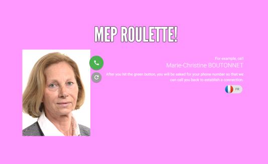 La «roulette» permet d'appeler gratuitement des parlementaires, et leur donner notre avis sur la sauvegarde des mèmes.