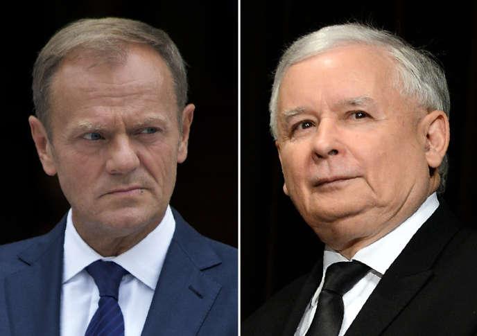 A gauche, le président du Conseil européen Donald Tusk. A droite, Jaroslaw Kaczynski, le chef du Droit et Justice (PiS), le parti au pouvoir à Varsovie.