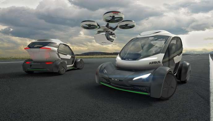 Le concept de « voiture volante» Pop. Up proposé parAirbus et la société Italdesign.