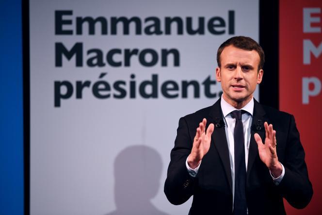 Emmanuel Macron s'exprime lors dela Journée internationale des droits des femmes, le 8 mars 2017.