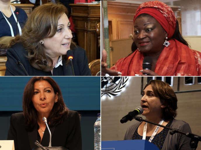 Monica Fein, Célestine Ketcha Coutès, Anne Hidalgo et Ada Colau, les maires de Rosario (Argentine), Bangangté (Cameroun), Paris et Barcelone (Espagne).