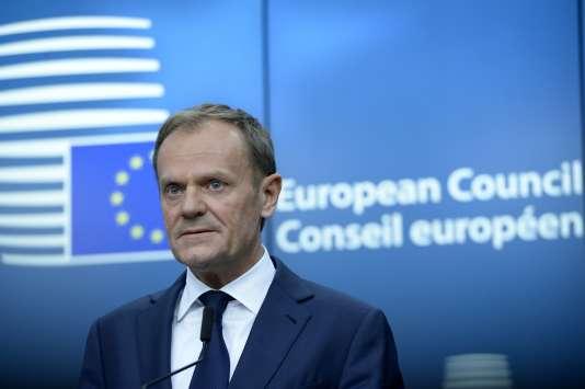 Donald Tusk au Conseil européen, à Bruxelles, le 9 mars.