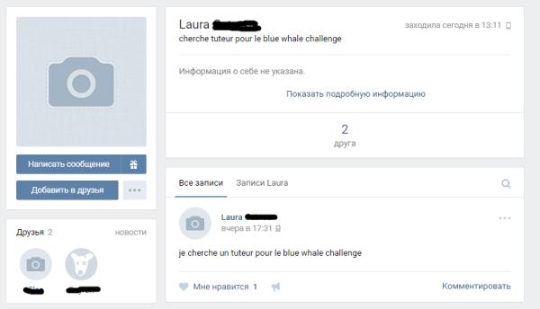 Sur VKontakte, Laura cherche à joindre un tuteur pour commencer le challenge.