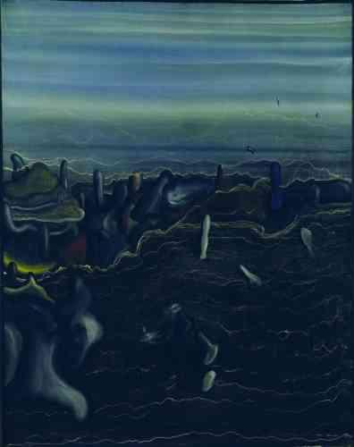 """«Evocateur """"d'une nuit dans les jardins de coraux guidé par la seule lueur d'un siphonophore"""" d'après André Breton, ce """"Jardin sombre"""" revêt l'inquiétante étrangeté des paysages surréalistes d'Yves Tanguy peuplés d'indéfinissables formes organiques, sources d'onirisme et d'érotisme. »"""