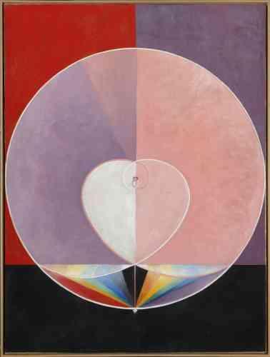 «Viscéralement attachée aux formes symboliques de la vie organique et végétale, Hilma af Klint use d'un vocabulaire abstrait qui figure les âges de la vie à travers la multiplication des cernes et des formes circulaires. »