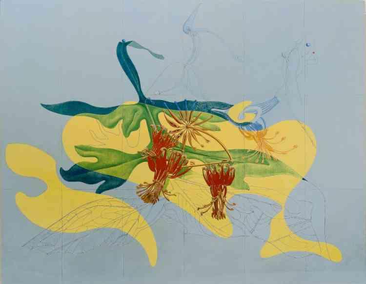 """«Dans ces flamboyantes fleurs se distingue une créature hybride, incarnation de l'oiseau Loplop, alter ego chimérique de Max Ernst qui le décrit comme un être tout """"aussi cérébral que végétal"""". Créée pour le Mascotte Dancing Bar du Corso Theater de Zurich, cette fresque est l'agrandissement monumental d'un collage antérieur empruntant cette illustration à la planche d'un ouvrage du XIXe siècle intitulé """"Flore des serres et des jardins de l'Europe"""".»"""