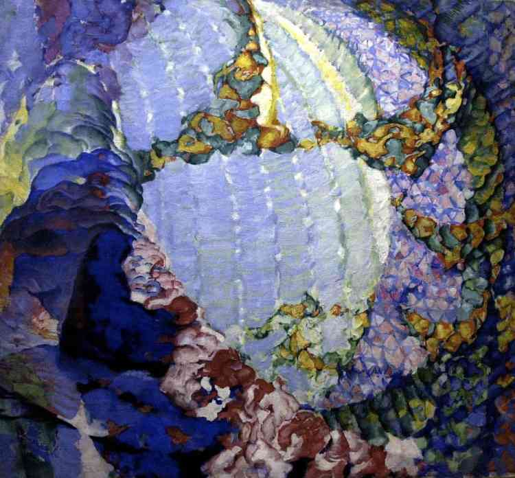 """«La peinture abstraite de František Kupka devient plus organique dans les années 1910. La réflexion sur les origines du monde et les métamorphoses de la matière triomphe dans l'énergie flamboyante d'un """"Printemps cosmique"""". »."""