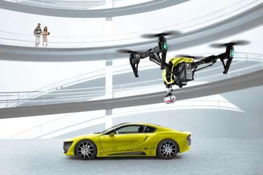 Grâce au projet Etos de Rinspeed, se faire livrer par drone une canette devient d'une totale banalité...