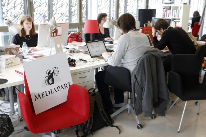 La rédaction de Mediapart, à Paris, en 2013.