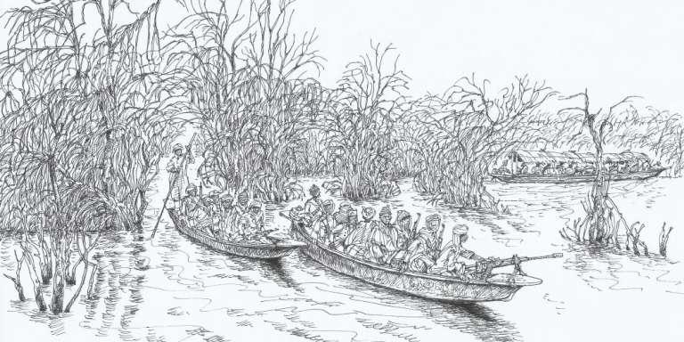 Des membres de Boko Haram sur le lac Tchad.