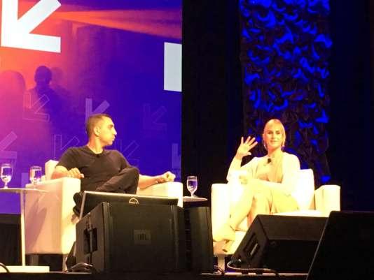Sean Rad, le fondateur de Tinder, etZackary Drucker, femme transexuelle, membre de l'organisation Glaad.