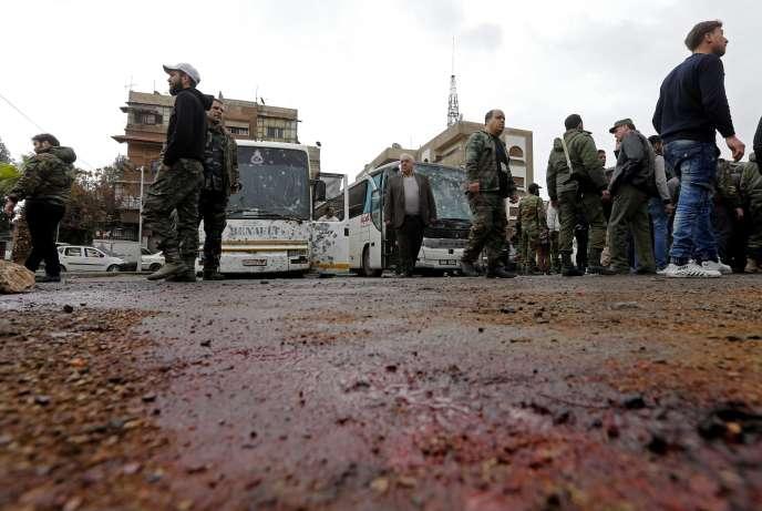 Le lieu du double attentat-suicide qui a eu lieu le 11 mars à Damas.