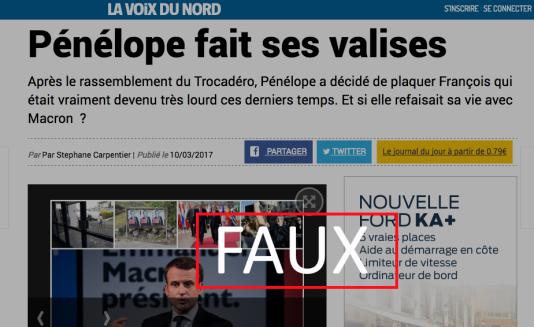 Capture écran d'un faux article en Une du site de «La Voix du Nord», vendredi 10 mars.
