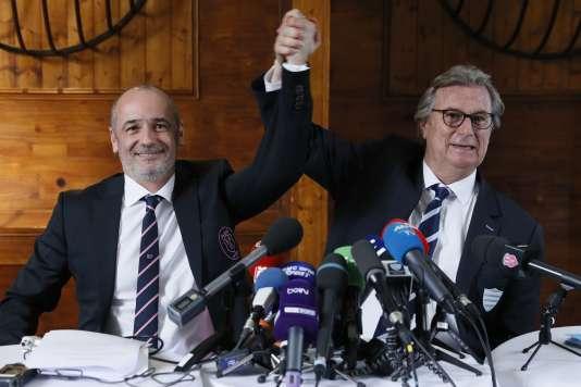 Thomas Savare et Jacky Lorenzetti,le 13 mars, lors de l'annonce de leur projet de fusion.