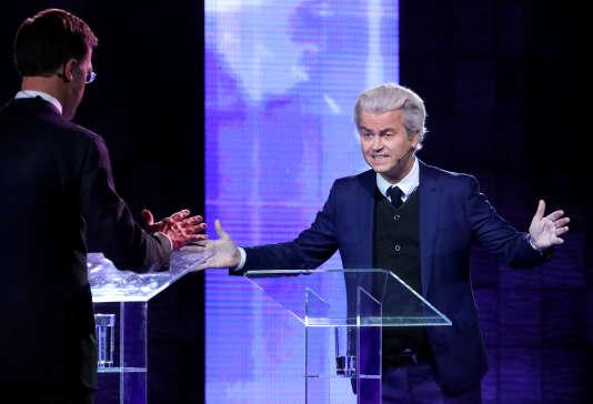 Geert Wilders lors du débat face au premier ministre néerlandais Mark Rutte à Rotterdam le 13 mars.