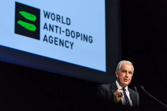 Le président de l'Agence mondiale antidopage, Craig Reedie, lors du symposium annuel de Lausanne.