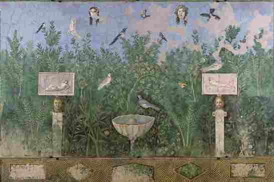 Dans les villas romaines, des fresques en trompe-l'œil ouvrent sur un jardin imaginaire, mêlant l'art à la nature. Pline décrit une chambre de sa villa de Toscane, «revêtue de marbre jusqu'à hauteur d'appui; et, ce qui ne le cède point à la beauté du marbre, c'est une peinture qui représente des oiseaux perchés sur un branchage.»