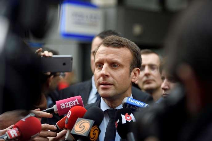Emmanuel Macron, candidat d'En marche ! à l'élection présidentielle, le 13 mars, àParis.