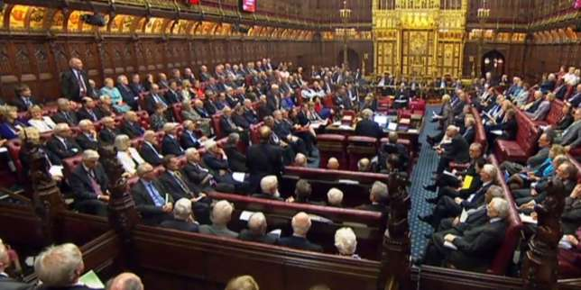 In this video grab taken from footage broadcast by the UK Parliamentary Recording Unit (PRU) via the Parliament TV website on March 13, 2017, members of the House of Lords debate the Brexit Bill. The House of Lords gave final approval on Monday to a bill empowering Prime Minister Theresa May to notify EU leaders of Britain's intention to leave the European Union following last year's referendum. The vote means the bill has now passed through parliament after weeks of debate and requires only royal assent from Queen Elizabeth II to become law, which is expected to happen on Tuesday.