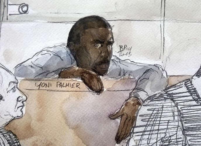 Yoni Palmier dessiné parJulien Fesnault lors de son procès en première instance, le31mars 2015, à Evry (Essonne).