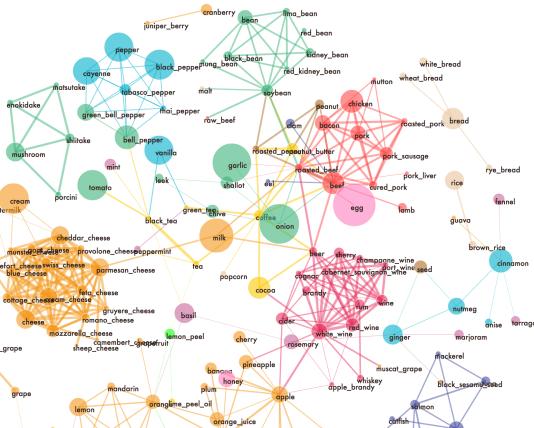 Le«réseau de saveurs» développé parYoshiki Ishikawa.