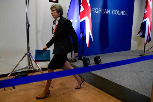 La première ministre britannique Theresa May lors du conseil européen, le 9 mars, à Bruxelles.