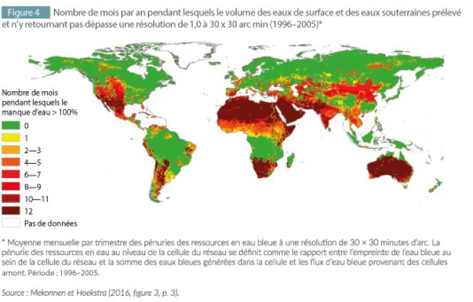 Carte des prélèvements d'eau dans le monde