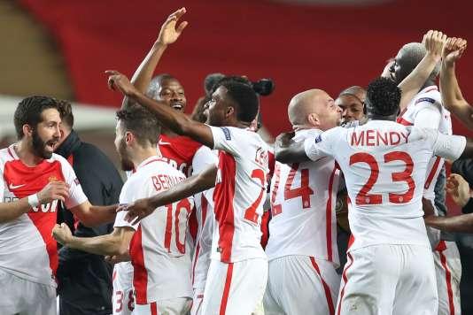 La joie des Monégasques après leur victoire face à Manchester City.