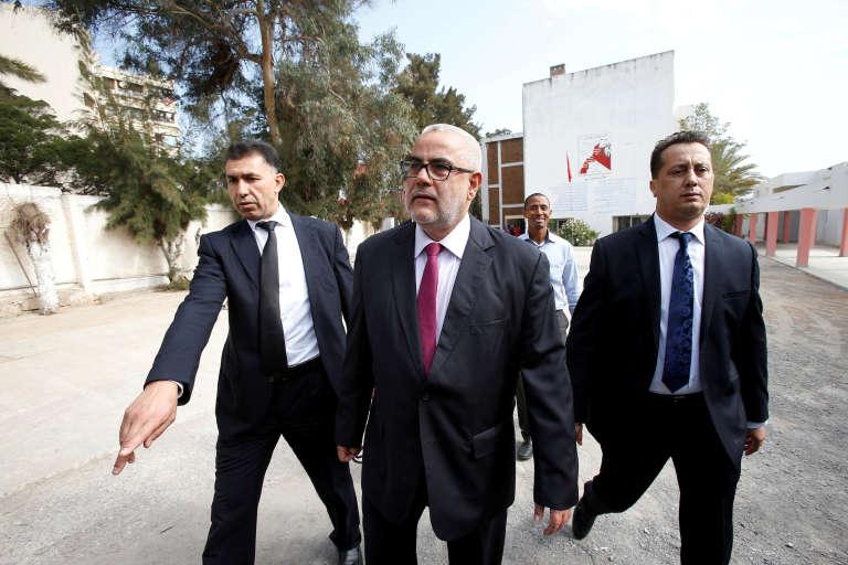 Le 7 octobre 2016 à Rabat, Abdelilah Benkirane (centre), chef de file du Parti de la justice et du développement.