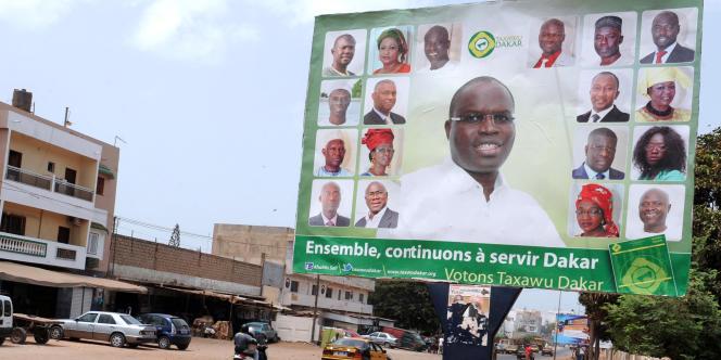 Affiche électorale des municipales de juin 2014 au Sénégal qui avaient vu la victoire de Khalifa Sall dans le Grand-Yoff.