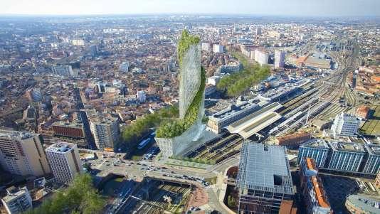 Vue d'oiseau de l'Occitanie Tower telle que projetée à Toulouse